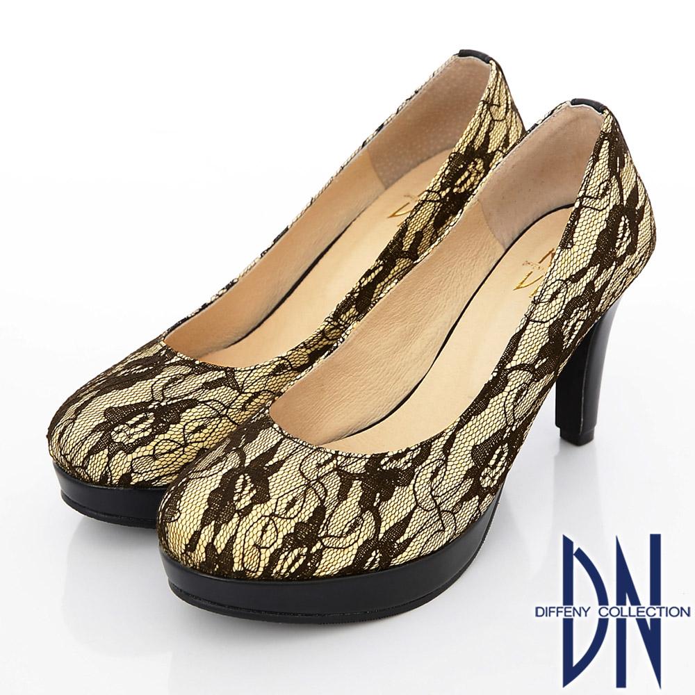 DN 優雅仕女 MIT法式鏤花蕾絲高跟鞋 黃