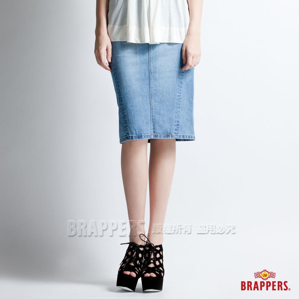 BRAPPERS 女款 女垮裙系列-女用過膝裙-淺藍