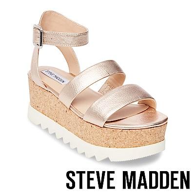 STEVE MADDEN-KIRSTEN 二字帶繫踝軟木厚底涼鞋-金色