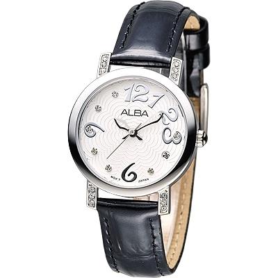 ALBA 天使心鑽甜美淑女腕錶(AG8453X1)-白x黑色錶帶/30mm
