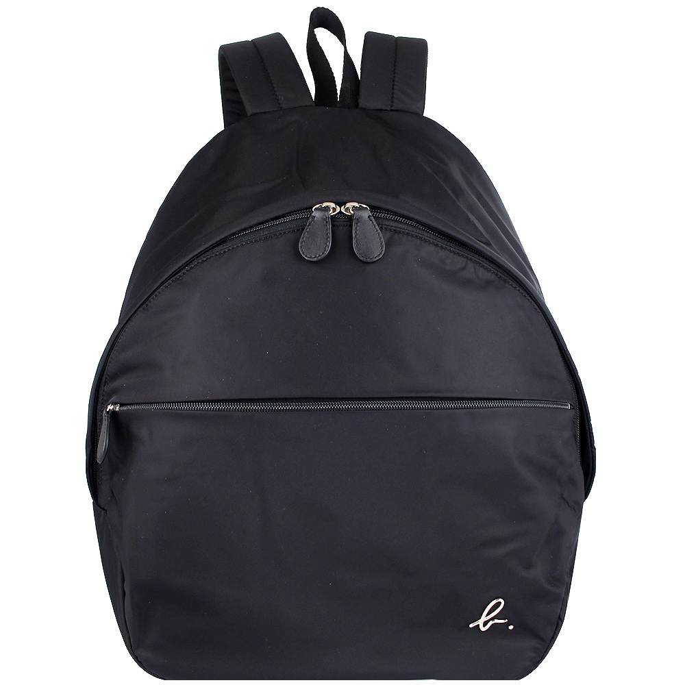 agnes b. voyage 黑色尼龍小b金屬標誌拉鍊後背包