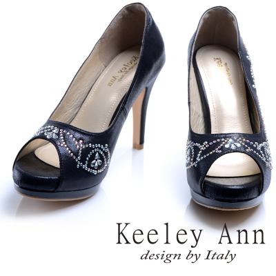 Keeley Ann 高貴迷人~閃耀水鑽花紋造型真皮軟墊高跟魚口鞋(黑色)