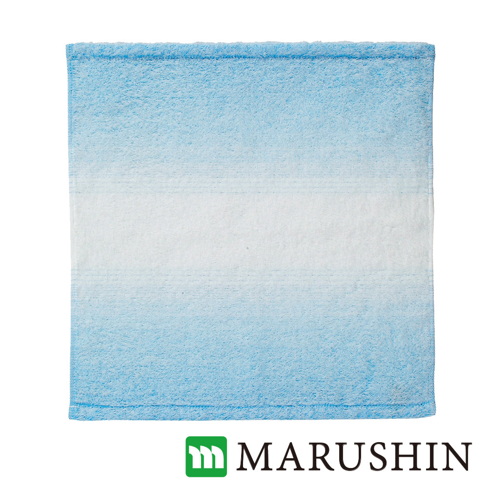 日本丸真今治保濕美肌漸層方巾-淡藍