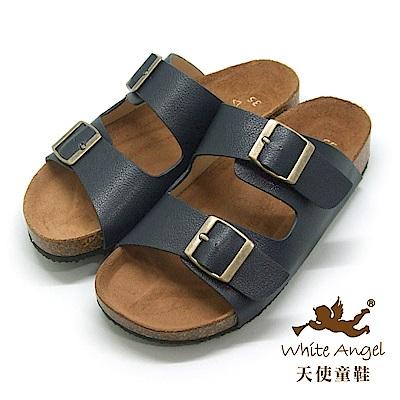 天使童鞋-J838 悠閒馬德里親子拖鞋(超大童)-深藍