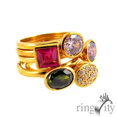 RingCity 彩寶色鋯石五枚造型戒