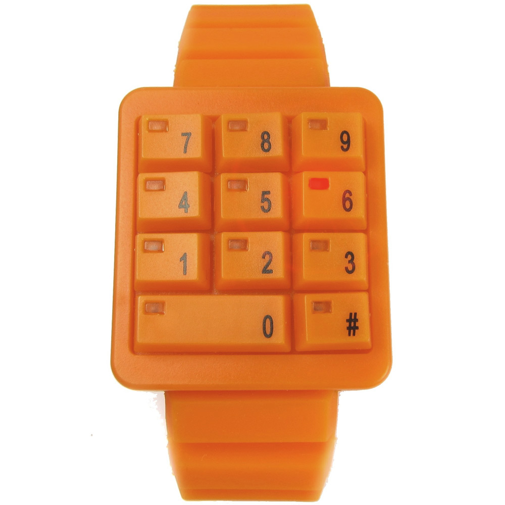 CLICK 創意爆破數字鍵盤個性腕錶-橘/40mm