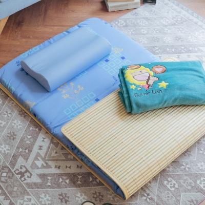米夢家居-MIT天然竹面熱烘棉單人床墊+薰衣草記憶枕+珊瑚絨毯(星星牛仔)外宿三件組