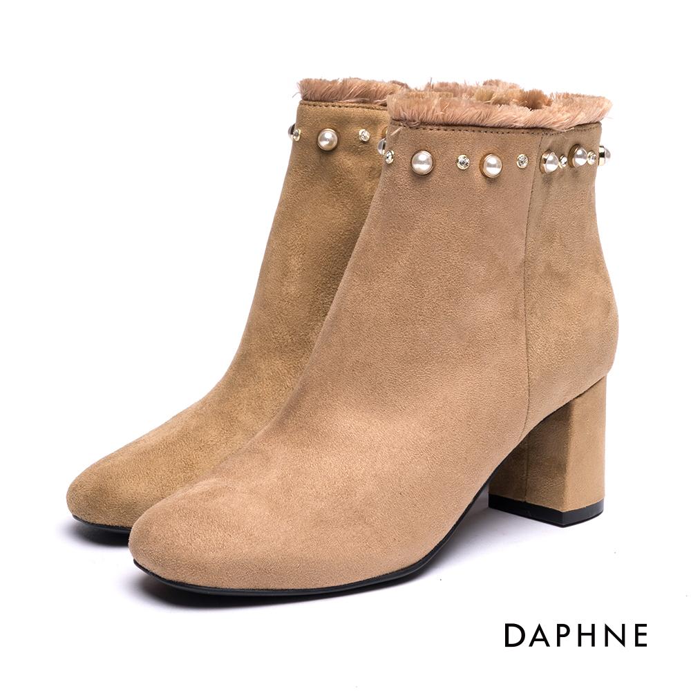 達芙妮DAPHNE 短靴-珍珠鑽飾流蘇絨布方頭粗跟踝靴-杏