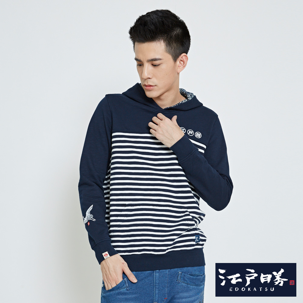 EDWIN EDOKATSU江戶勝日式風格長袖T恤-男-丈青