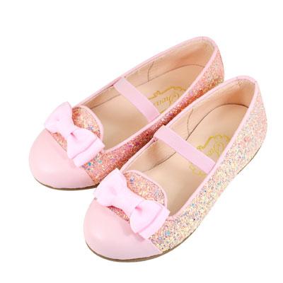 Swan天鵝童鞋-璀璨金蔥緞帶蝴蝶結樂福皮鞋 3823-粉