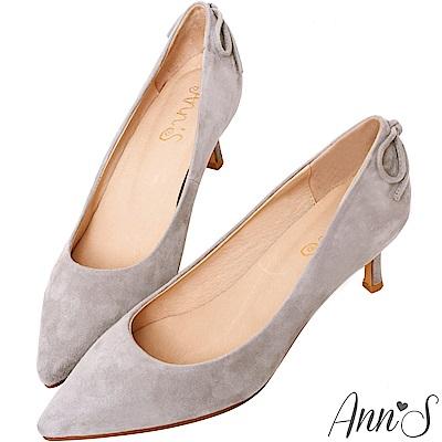 Ann'S輕熟感-柔軟羊麂皮典雅蝴蝶結尖頭低跟鞋-灰