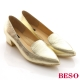 BESO 耀眼女孩 全牛皮金箔尖楦粗跟鞋 金