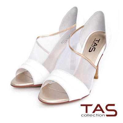TAS-透膚網紗側鏤空高跟涼鞋-氣質白