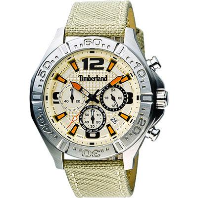 Timberland Men Quartz三眼計時腕錶-黃x綠/45mm