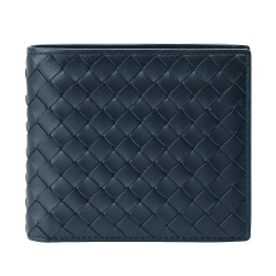 BOTTEGA VENETA 經典編織小羊皮零錢袋摺疊短夾(海軍藍)