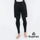 Superax SM-5 男款透氣假兩件運動緊身褲 籃球褲 黑色 - 急速配