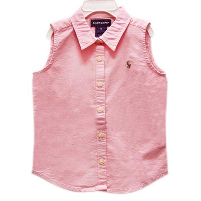 Ralph Lauren 女童經典LOGO無袖襯衫-粉紅色(5歲)