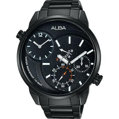 ALBA ACTIVE 二地時區限定腕錶(A2A001X1)-鍍黑/46mm