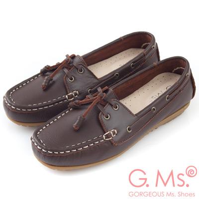 G.Ms. MIT情侶鞋系列-水洗牛皮帆船鞋-濃咖啡