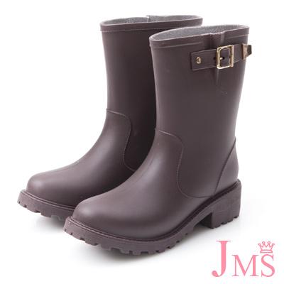 JMS-百搭金屬單扣中筒雨靴-咖啡色