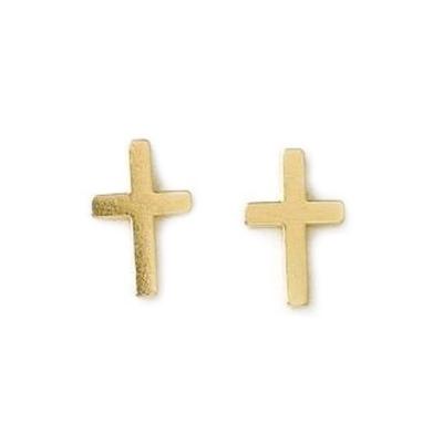Dogeared 經典十字架 Simple Cross 金色耳環 附原廠盒