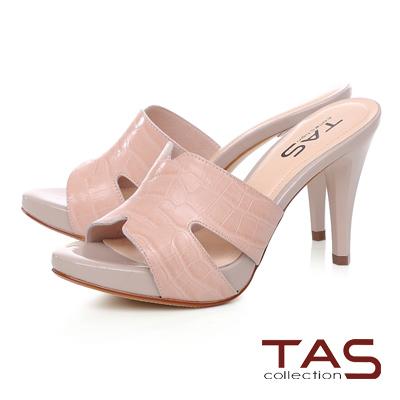 TAS 鏤空剪裁鱷魚壓紋高跟涼拖鞋-麗緻粉