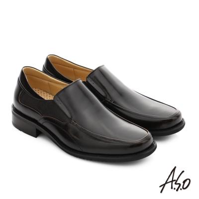 A.S.O 勁步雙核心 真皮鏡面直套式奈米紳士鞋 茶色