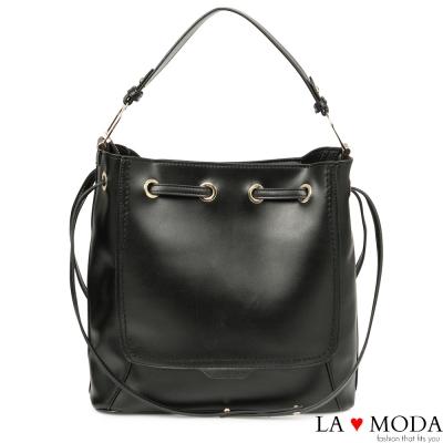 La Moda 通勤必備2way大容量穿繩設計子母包大包肩背包(黑)