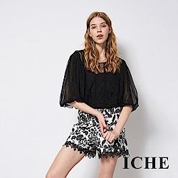 ICHE 衣哲 立體刺繡提花蕾絲拼接時尚短褲