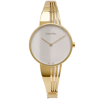 CK Calvin Klein都會時尚女性手錶(K6S2N516)-銀面X金色/34mm