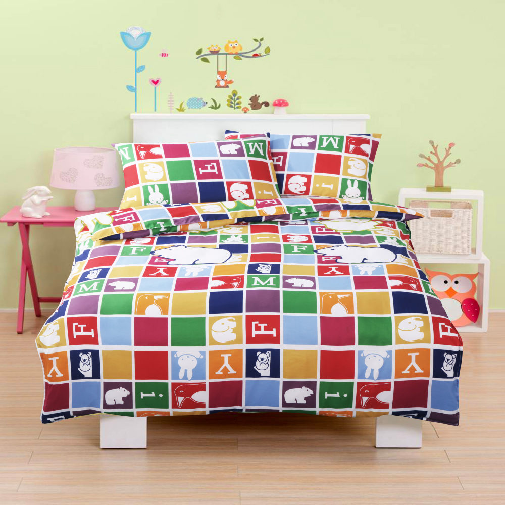 Miffy 忒萌活性印染超細纖雙人床包枕套三件組-繽紛米飛