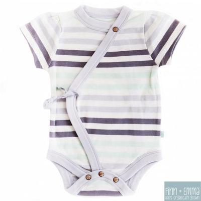 Finn + Emma 有機棉 Stripe款女寶寶短袖綁帶包屁衣