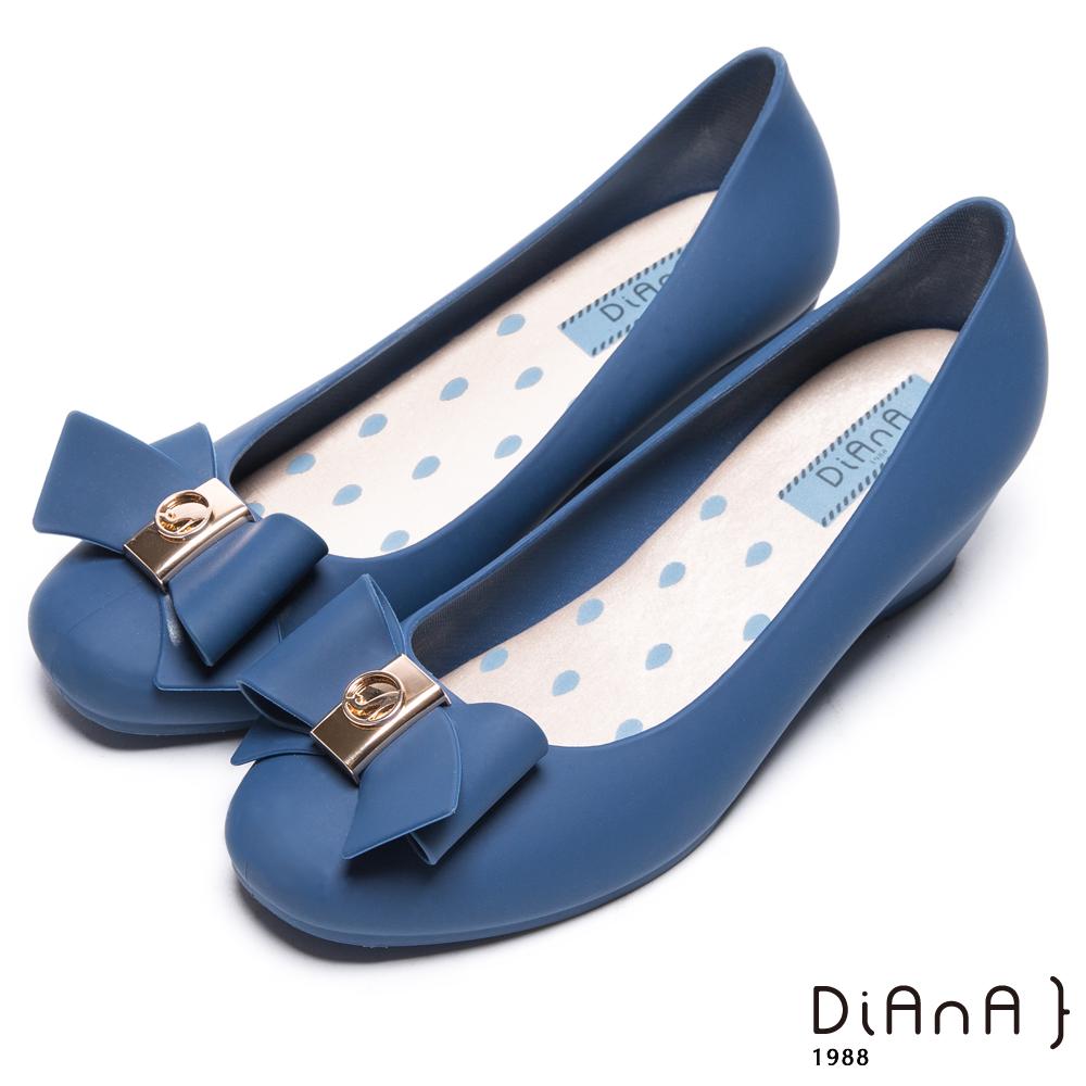 DIANA 漫步雲端雨滴款--甜美蝴蝶結果凍楔型雨鞋-琉璃藍