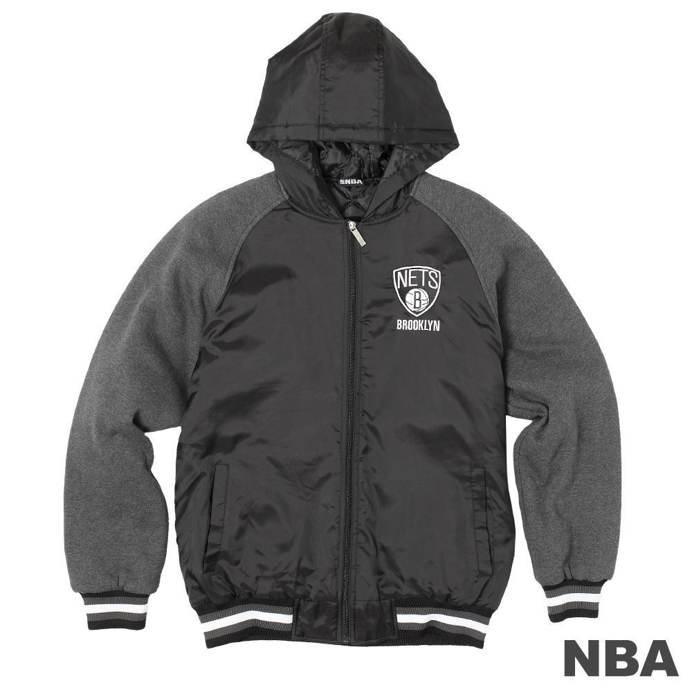 NBA-布魯克林籃網隊拼接連帽外套-黑(男)