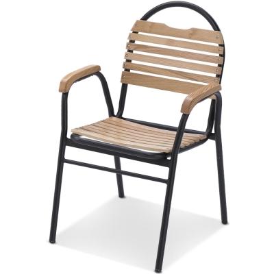 椅吧-休閒度假木質圓弧戶外椅-56x44x87cm