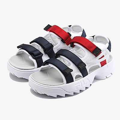 FILA 中性款DISRUPTOR鋸齒厚底涼鞋-白 4-S134S-125