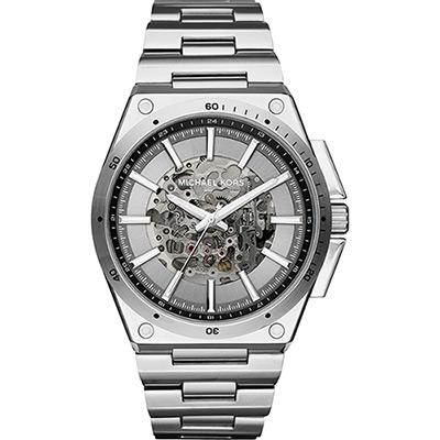 Michael Kors 時尚型男雙鏤空機械腕錶-銀/45mm