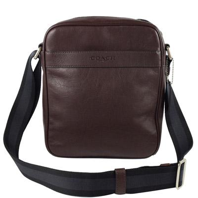 COACH 都會質感全皮革雙色織帶中性斜背包.深咖(大)