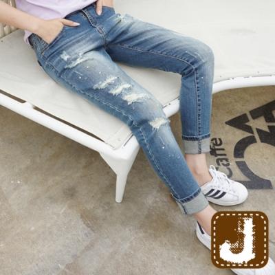 正韓 漆點破膝刷白窄管長褲-(水洗藍)100%Korea Jeans
