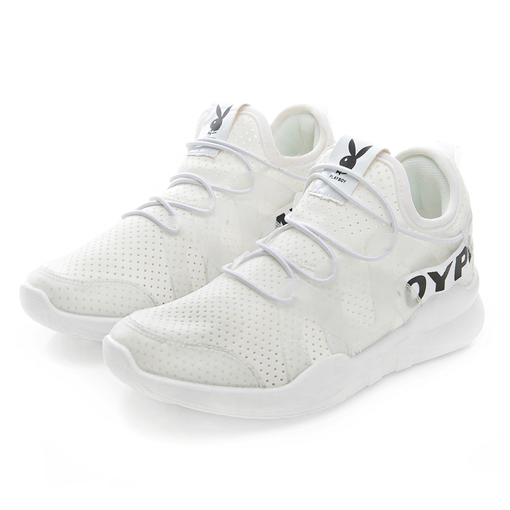 PLAYBOY個性步伐 假綁帶輕量彈力運動鞋-白