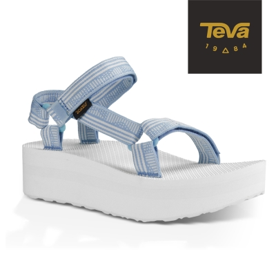 TEVA 美國 女 Flatform Universal 織帶厚底涼鞋 (條紋藍)