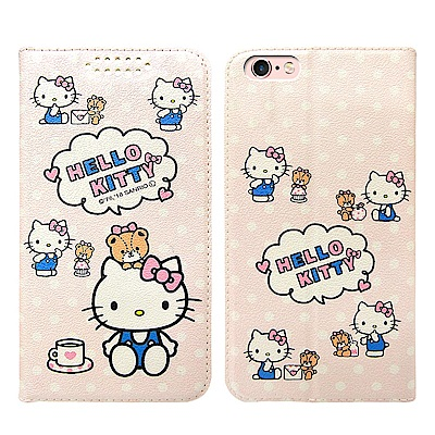 Hello Kitty貓 iPhone 6s /6 Plus 粉嫩系列彩繪磁力皮...