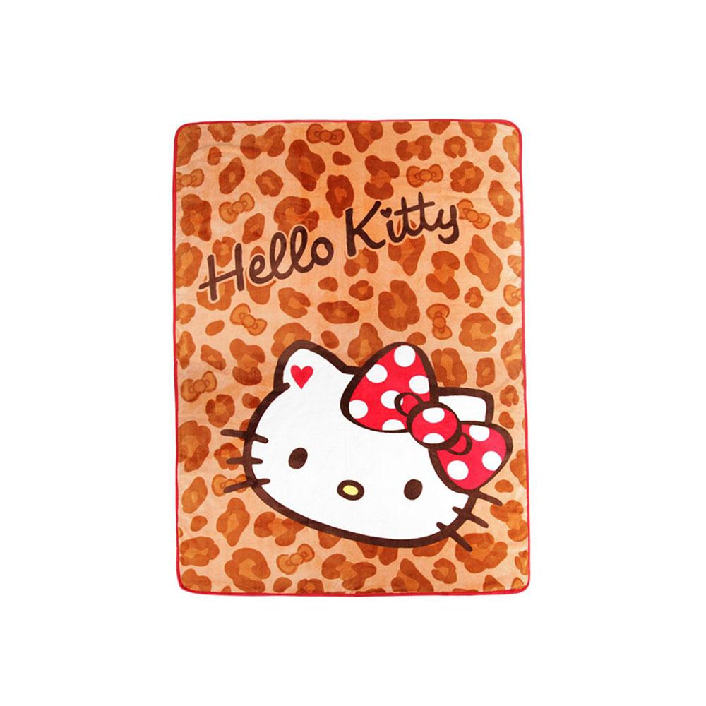 Sanrio HELLO KITTY單人大尺寸刷毛薄毛毯(豹紋)