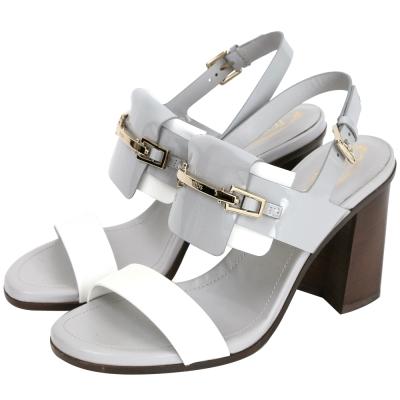 TOD'S Chunky Heel Sandals 漆皮撞色粗跟涼鞋(灰x白)