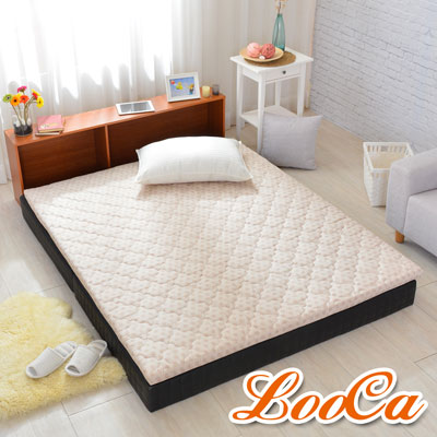 LooCa 冬夏兩用防蹣防蚊HT乳膠5cm床枕五件組 點點 加大6尺
