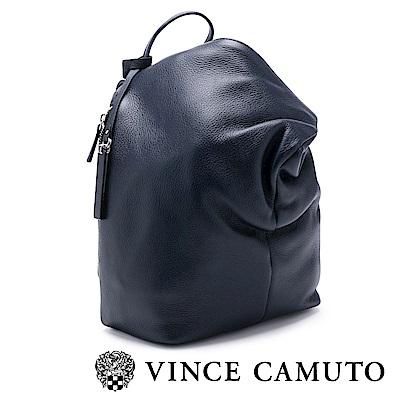 Vince Camuto 柔軟皮革金屬扣斜蓋式後背包-藍色