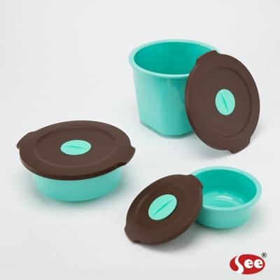 S.E.E. Breere會呼吸的保鮮盒圓形三件禮盒套組(湖水綠)