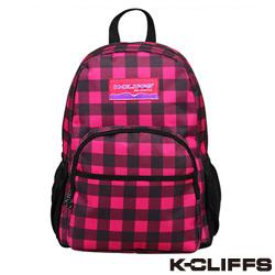 美國K-CLIFFS - 潮流格紋雙肩後背包-桃紅