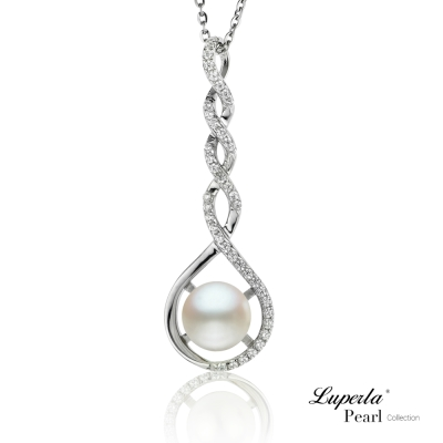 大東山珠寶 純銀珍珠晶鑽墬飾項鍊 情有獨鍾