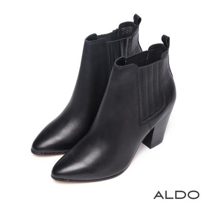 ALDO-原色真皮幾何拼接直紋木跟尖頭短靴-尊爵黑